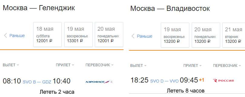 Разница в цене билета из Москвы в Геленджик и из Москвы во Владивосток, эконом класс на одни и те же даты.